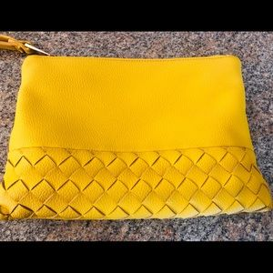 Street Level Lyna Woven Yellow Clutch